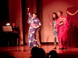 Three Little Maids performance on stage women in kimonos with fans